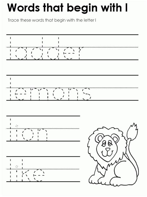 l words for free printable letter l worksheets for kindergarten