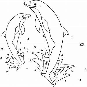 Jumping Dolphins Outline - Rooweb Clipart