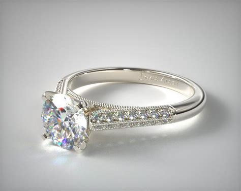 pave knife edge cathedral diamond engagement ring