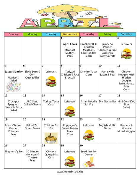 recipe daily sweepstakes calendar a month of meals on a budget april 2015 meal plan 30 days of dinners for 151 s bistro