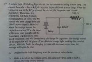 Solved A Simple Type Blinking Light Circuit Can Be Con