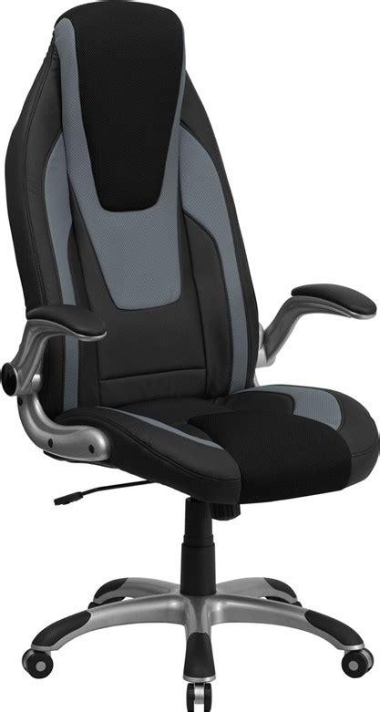 high back black gray vinyl executive flip up arm office
