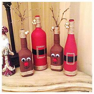 Diy, Christmas, Decor, Reindeer, From, Old, Whiskey, Bottles, And, Santas, From, Old, Wine, Bottles