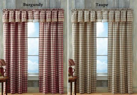 Buffalo Check Primitive Country Curtain Panel Taupe 42