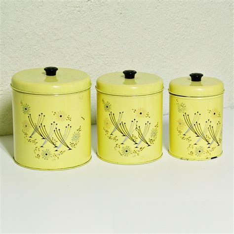 vintage metal kitchen canister sets vintage canister set tins yellow retro flowers