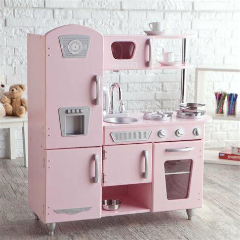 Kids Play Kitchen Pink Cooking Toys Children Wood Pretend