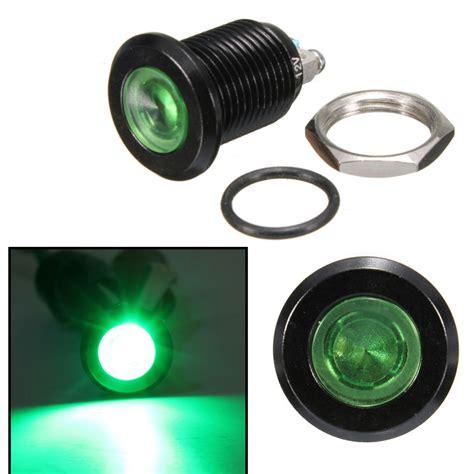 led indicator lights 12mm shape black shell green led metal indicator