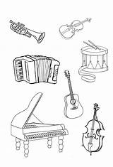 Coloring Pages Instrument Instruments Musical Print Coloringtop sketch template