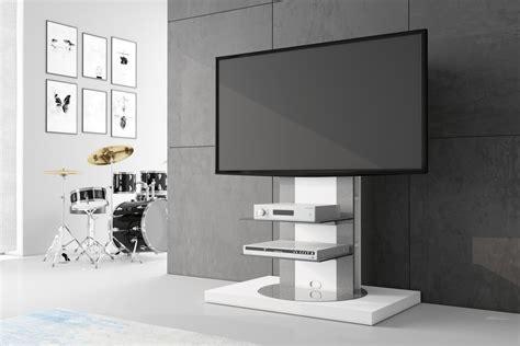 tv rack drehbar design fernsehtisch roma h 777nw wei 223 hochglanz 360