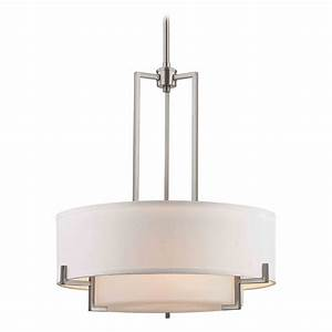 Drum pendant lighting white : Modern drum pendant light with white glass in satin nickel