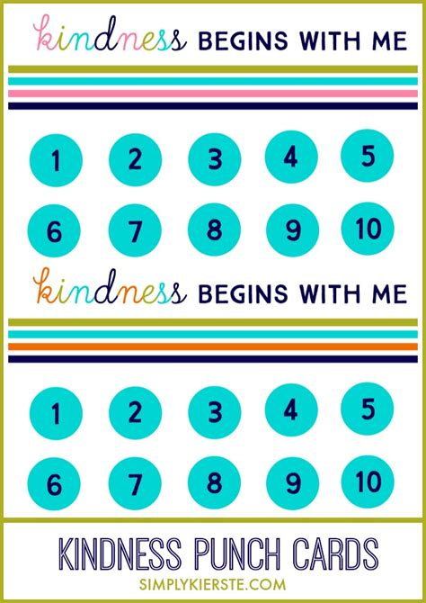 kindness punch card simplykierstecom