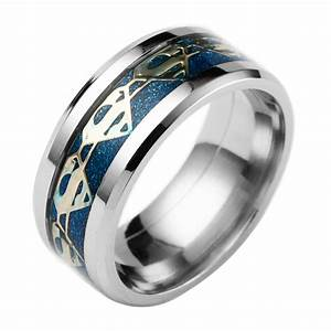 Black Superman Hero Titanium Steel Carbide Ring Gold