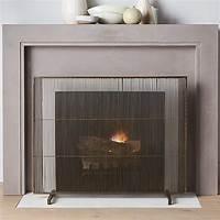 modern fireplace screens Antiqued Brass Fireplace Screen | Crate and Barrel