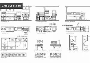 Plan  Elevation Of Industrial Kitchen Free Cad File