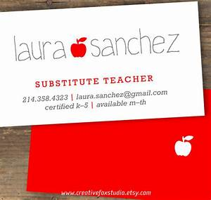Business cards for teachers 48 free psd format download for Substitute teacher business card template