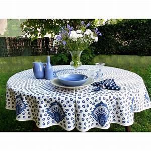 Nappe Blanche Ronde : nappe ronde proven ale diam tre 175 blanche motifs bleus ~ Teatrodelosmanantiales.com Idées de Décoration