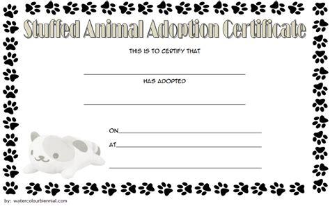 stuffed animal adoption certificate editable templates