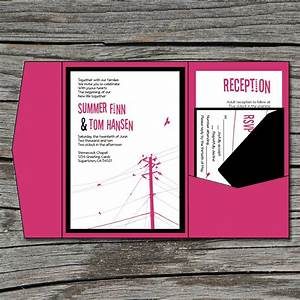 wedding invitation diy pocketfold modern power lines With diy pocket wedding invitations tutorial