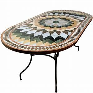 Table Marbre Ovale : table mosaique de marbre ovale 180 90 sur pied fer forg ~ Teatrodelosmanantiales.com Idées de Décoration