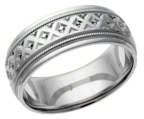 platinum 14k 10k silver white gold wedding band ring milgrain chased mens ebay