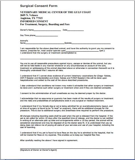 Surgery Consent Form Template by Sle Consent Form Printable Forms