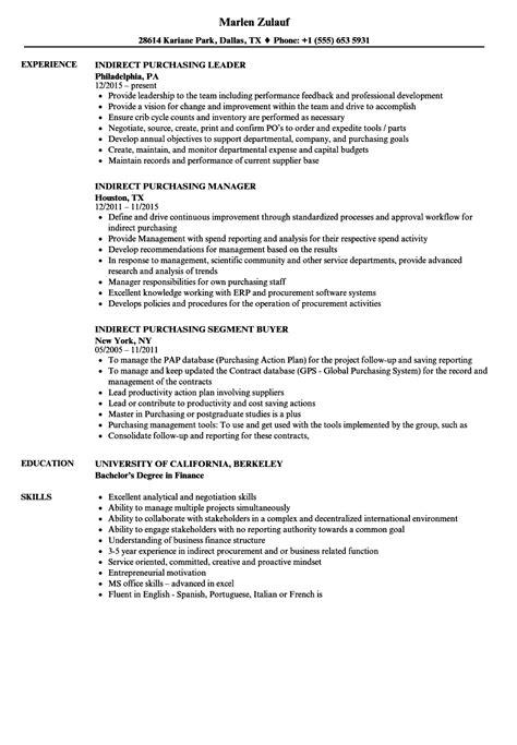 Purchasing Resume by Indirect Purchasing Resume Sles Velvet