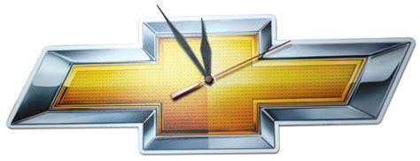 chevrolet gold bowtie wall clock chevymall