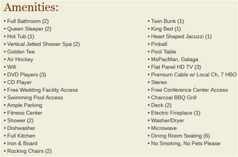 list of amenities gatlinburg falls our cabin stay was amazing check out my review the small things