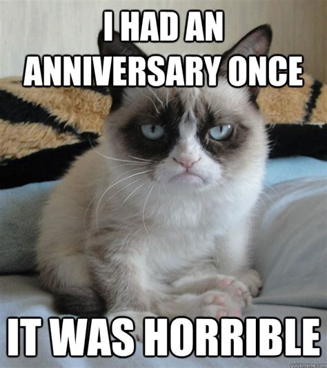 Anniversary Meme - i had an anniversary once it was horrible grumpy cat anniversary quickmeme