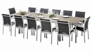 Table Jardin 12 Personnes : salon de jardin complet aluminium et bois 12 fauteuils ~ Melissatoandfro.com Idées de Décoration