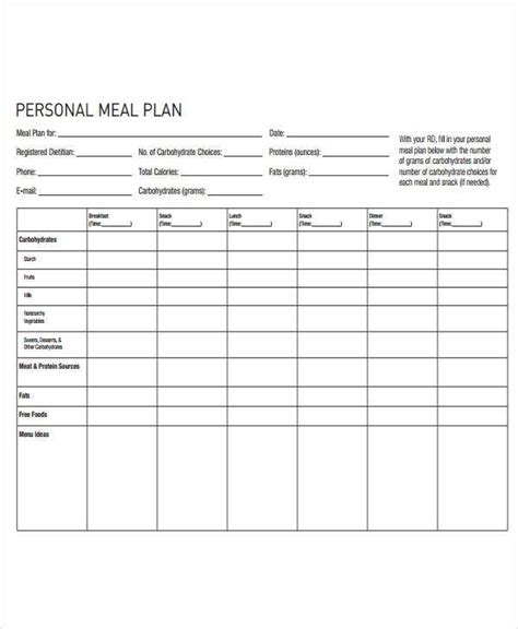 diet plan templates  sample  format