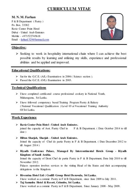 Curriculum Vitae Format For Cook by Asst Pastry Chef Cv
