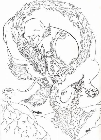 Dragon Water Coloring Sketch Drawings Deviantart 07kb
