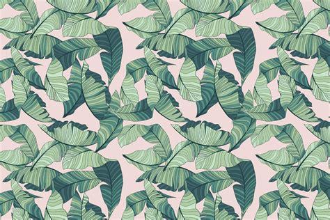 pink  green tropical leaf wallpaper murals wallpaper