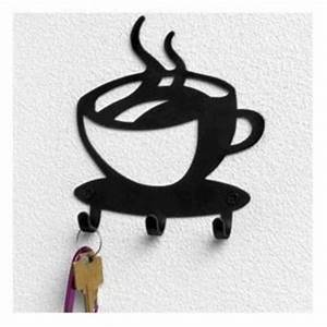 Coffee cup java silhouette wall mounted key hook art metal