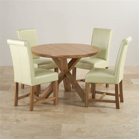 oak dining set table 4 leather chairs