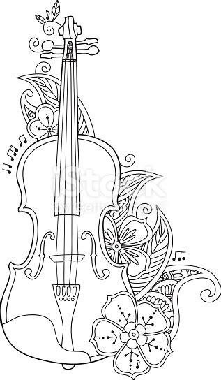 coloring page violin  flowers  leafs stock vector