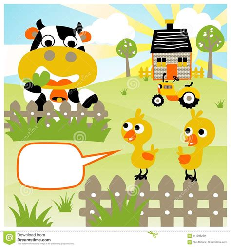 Farm animals with old macdonald and farm :) great for practicing the song, animal names, colours, sounds you can play this game in different ways. Funny Farm Animals Cartoon At Summer Stock Vector ...