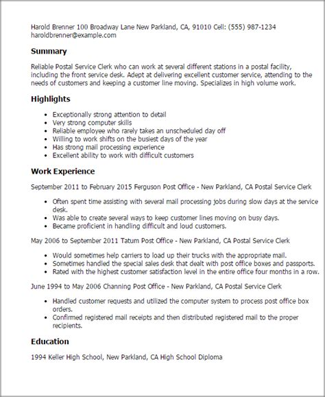 Post Office Resumes by Professional Postal Service Clerk Templates To Showcase