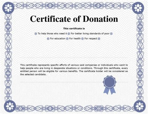 Certificate Of Appreciation For Donation Template by 7 Printable Donation Certificates Templates