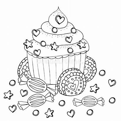 Coloring Cupcake Dessert Cake Kleurplaat Illustrations Candy