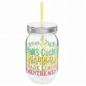 Bocal Avec Paille : bocal avec paille en verre h 14 cm cocktail maisons du monde ~ Teatrodelosmanantiales.com Idées de Décoration