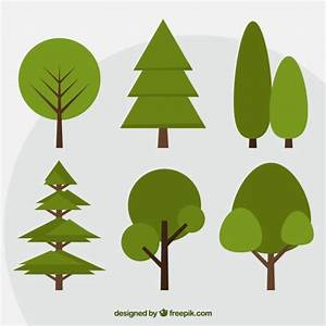 Set Of Green Trees In Flat Design Vector