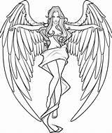 Coloring Pages Angels Demons Angel Adults Printable Print Getcolorings sketch template