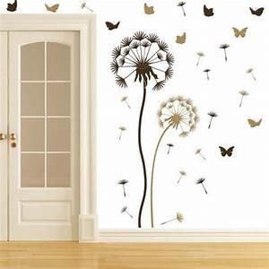 Pusteblume Schwarz Weiß Vögel : wandtattoo pusteblume set braun hellbraun sowie 10 schmetterlinge und 21 flugsamen gro e blume ~ Orissabook.com Haus und Dekorationen