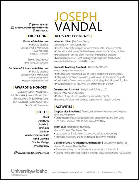 resumes  cvs career services university  idaho