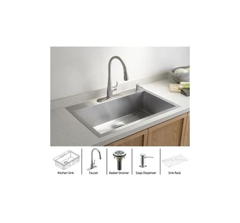 kohler stainless steel sink and faucet package kohler vault k 3821 4 package pc stainless sink polished