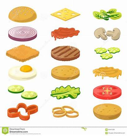 Sandwich Cartoon Burger Ingredients Burgers Karikaturart Verschiedenen