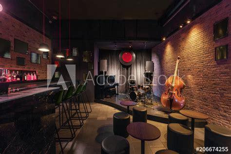 modern jazz bar interior design stage  black piano