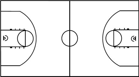 Outdoor Basketball Court Template Basketball Court Layout Printable Copyright C By